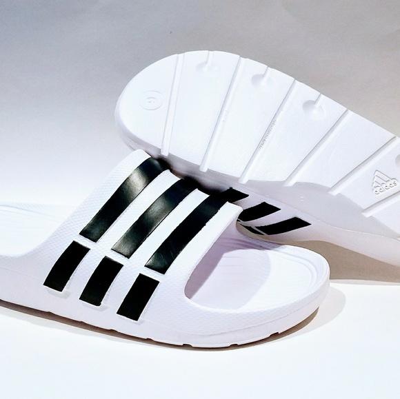 c71176221c74b Adidas Duramo Slides Sandals Flip Flop White Black